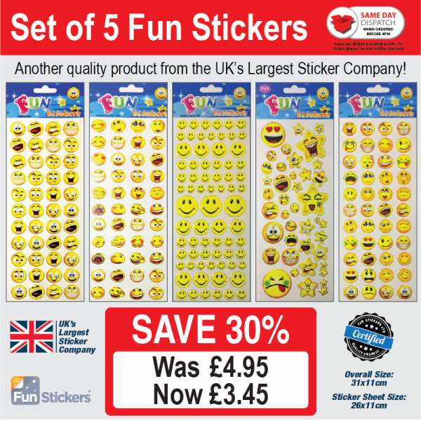 new generic 5 pack Smile Faces – 201, 204, 309, 310, 311