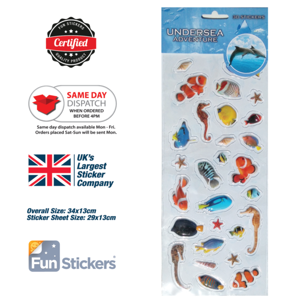 numbers to letters stickers 3d undersea tropical fish 1513 sticker express 1513