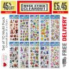 726 834 Fun Stickers Assorted: Set Of 10-505 837 826 838 606 829 99...
